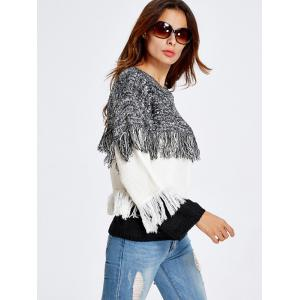 Color Block Fringe  Sweater - WHITE ONE SIZE