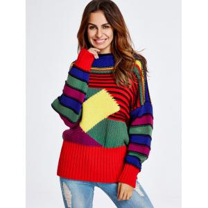 Geometric Stripe Pattern Chunky Sweater - Colorful - One Size