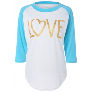 Love Heart Raglan Sleeve T-Shirt - Azure - M