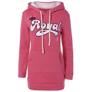 Embroidered Royal Letter Pocket Hoodie - Watermelon Red - 2xl