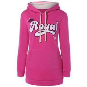 Embroidered Royal Letter Pocket Hoodie - Rose Red - M