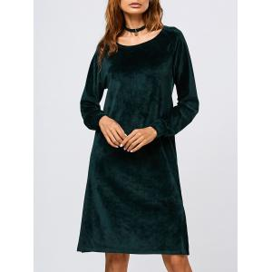 Long Sleeve Velvet Slit Dress