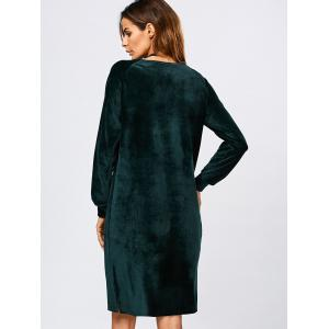 Long Sleeve Velvet Slit Dress - BLACKISH GREEN XL