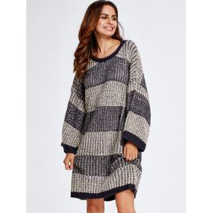 Stripe Thick Winter Casual Jumper Dress - GRAY ONE SIZE