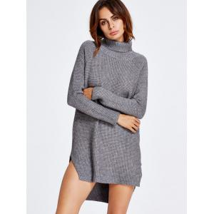 Asymmetrical Polo Neck Jumper Dress