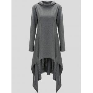 Pullover Asymmetric Hoodie - Gray - Xl