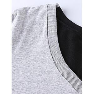Color Splicing Twin Pockets T-Shirt - BLACK AND GREY 4XL