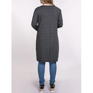 Heathered Plus Size Cardigan With Pockets - DEEP GRAY 4XL