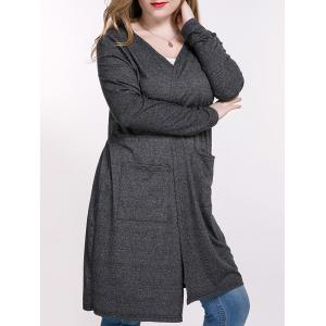Heathered Plus Size Cardigan With Pockets - Deep Gray - 2xl
