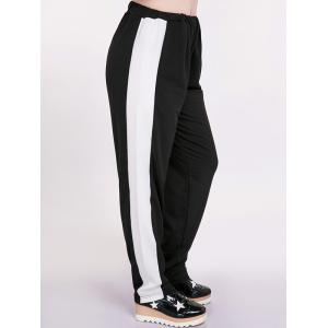 Two Tone Plus Size Harem Pants - WHITE AND BLACK 3XL