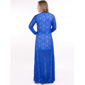 Plus Size Slit Sheer Lace Long Sleeve Maxi Formal Dress - BLUE 7XL