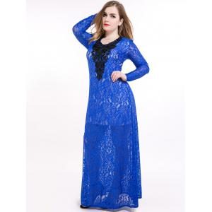 Plus Size Slit Sheer Lace Long Sleeve Maxi Formal Dress