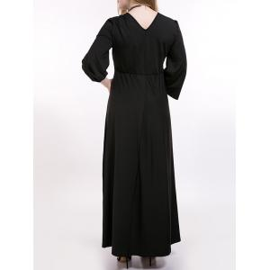 Plus Size Ruched Long Formal Dress with Sleeves -
