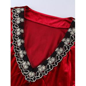 Suede Floral Embroidery Swing Dress - DEEP RED 6XL