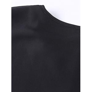Faux Leather Panel Plus Size Overlay Dress - BLACK 7XL
