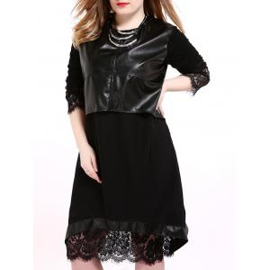 Faux Leather Panel Plus Size Overlay Dress