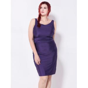 Backless Belted Pencil Dress - DEEP PURPLE 3XL