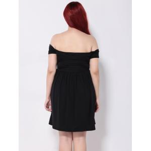 Off the Shoulder Pleated Empire Waist Cocktail Dress - BLACK 3XL