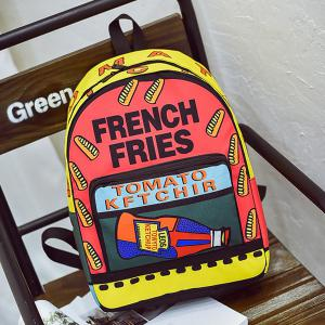 Color Blocking Letter Print Backpack - YELLOW