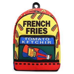 Color Blocking Letter Print Backpack - Jacinth