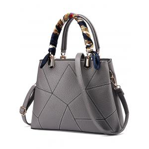 Geometric Pattern PU Leather Scarves Handbag - Gray - 130cm