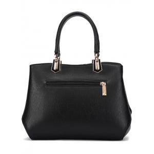 Metal PU Leather Color Block Handbag - BLACK