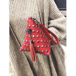 Studded Tassel Triangle Shaped Wristlet - RED