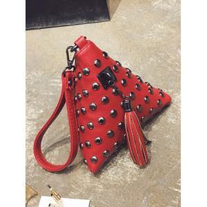 Studded Tassel Triangle Shaped Wristlet -