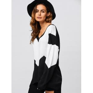 Patched Loose V Neck Sweater - BLACK L