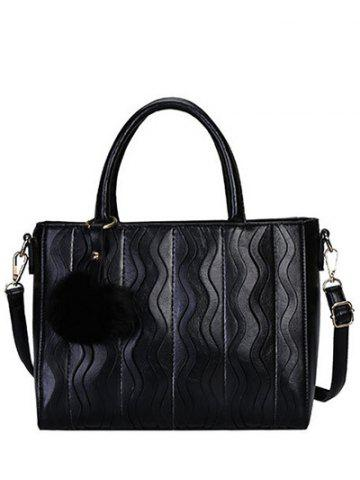 Chic Stitching Wavy Stripe Pattern Metal Tote Bag BLACK