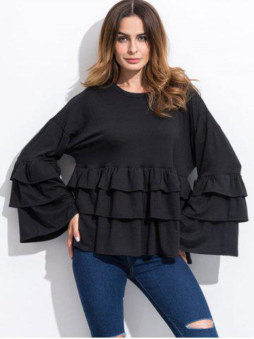 Buy Long Sleeve Tiered Blouse BLACK M