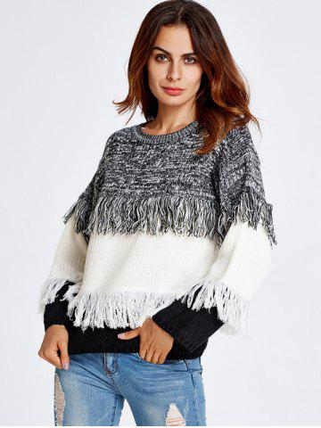 Affordable Color Block Fringe  Sweater WHITE ONE SIZE