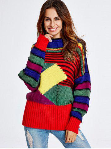 Best Geometric Stripe Pattern Chunky Sweater COLORFUL ONE SIZE
