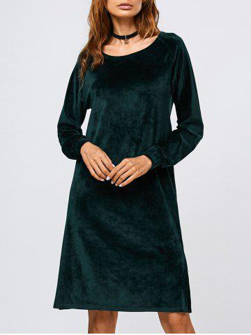 Unique Long Sleeve Velvet Slit Dress BLACKISH GREEN XL