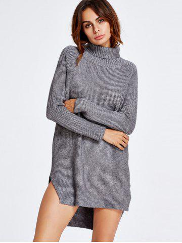 Hot Asymmetrical Polo Neck Jumper Dress GRAY ONE SIZE