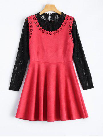 Discount Laciness Suede Mini Dress With Lace Blouse