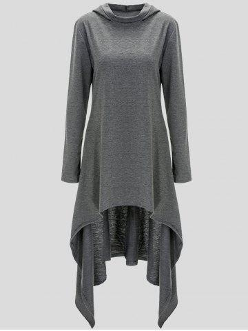 Fancy Pullover Asymmetric Hoodie GRAY 4XL