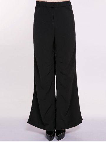 Plus Size High Waist Wide-Leg Pants - BLACK 6XL