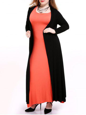 Fancy Duster Collarless Long Cardigan - 6XL BLACK Mobile