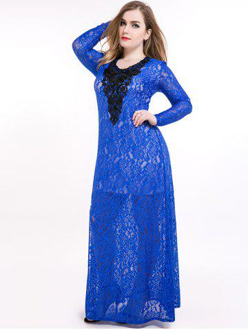 Fashion Plus Size Slit Sheer Lace Long Sleeve Maxi Formal Dress BLUE 7XL