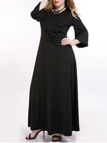 Cheap Plus Size Ruched Long Formal Dress with Sleeves BLACK 7XL