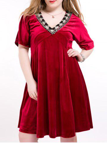 Fancy Suede Floral Embroidery Swing Dress DEEP RED 6XL