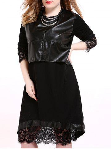New Faux Leather Panel Plus Size Overlay Dress BLACK 7XL