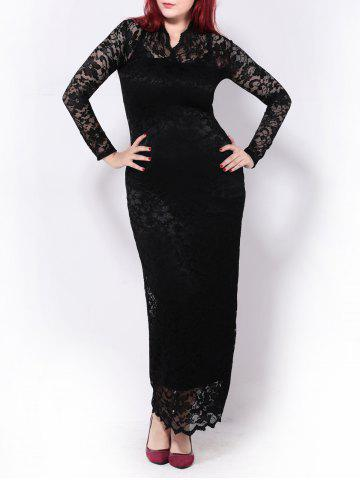 Plus Size Lace Maxi Long Sleeve Prom Dress - Black - 2xl