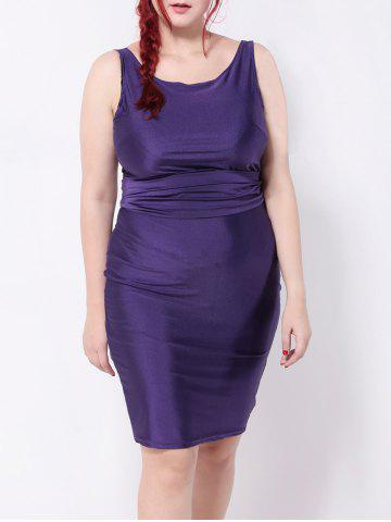 Trendy Backless Belted Pencil Dress DEEP PURPLE 3XL