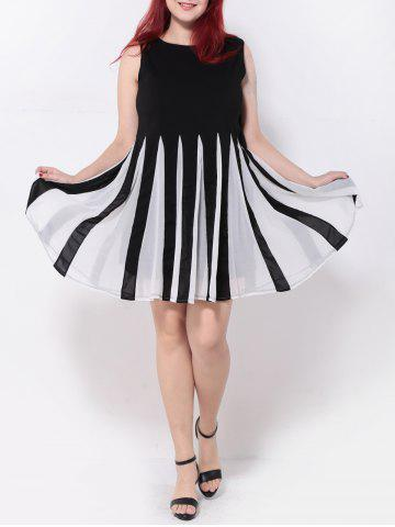 Unique Pleated Patchwork Swing Dress WHITE/BLACK 5XL