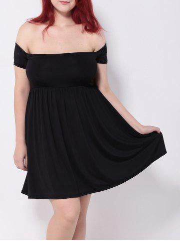 Buy Off the Shoulder Pleated Empire Waist Cocktail Dress BLACK 3XL