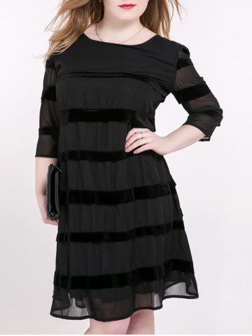 Trendy Tied-Up Striped Suede Panel Dress BLACK 6XL