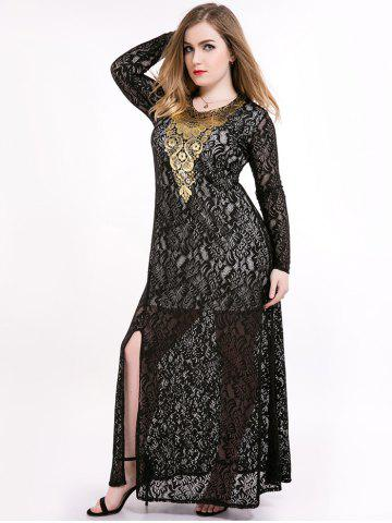 Plus Size Slit Sheer Lace Long Sleeve Maxi Formal Dress - Black - 6xl