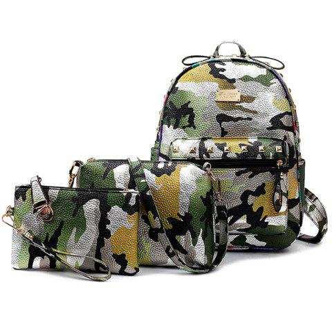 Outfits Rivet Camo Print PU Leather Backpack GREEN